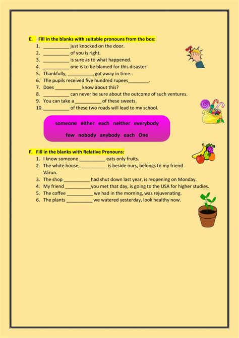 pronounsmixed worksheet