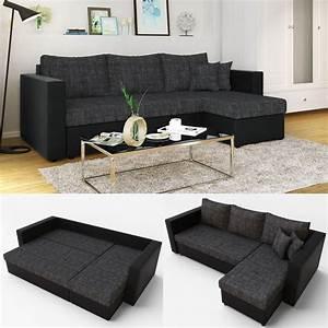2er Sofa Mit Schlaffunktion : ecksofa mit schlaffunktion 224 x 144 cm schwarz grau real ~ Bigdaddyawards.com Haus und Dekorationen
