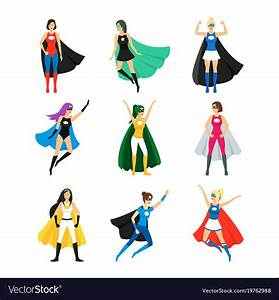 Cartoon, Female, Superhero, Characters, Icon, Set, Vector, Image