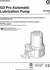 Graco 332298b G3 Pro Automatic Lubrication Pump Users