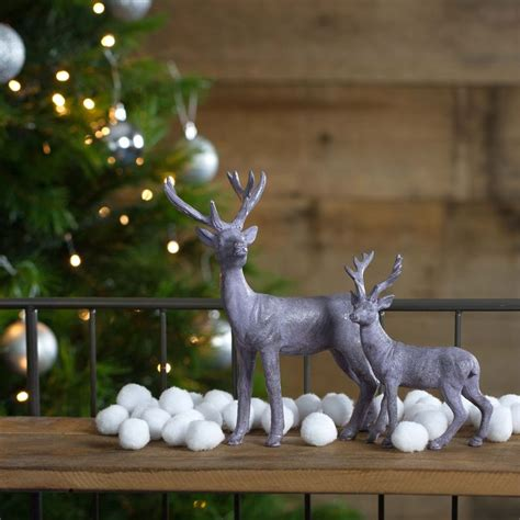 lilac polyresin standing stag christmas ornaments