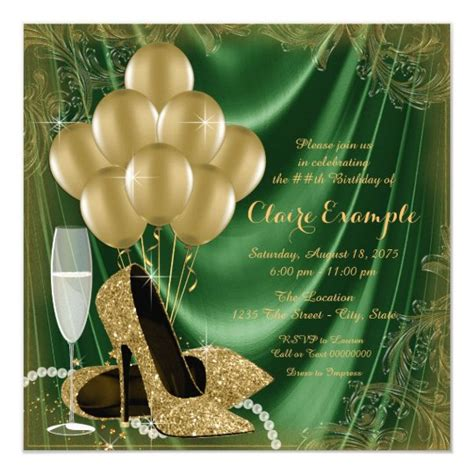womans green  gold birthday party satin glitter