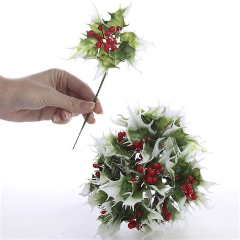 vinyl artificial holly floral picks holiday florals