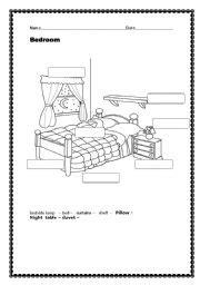 english worksheets bedroom