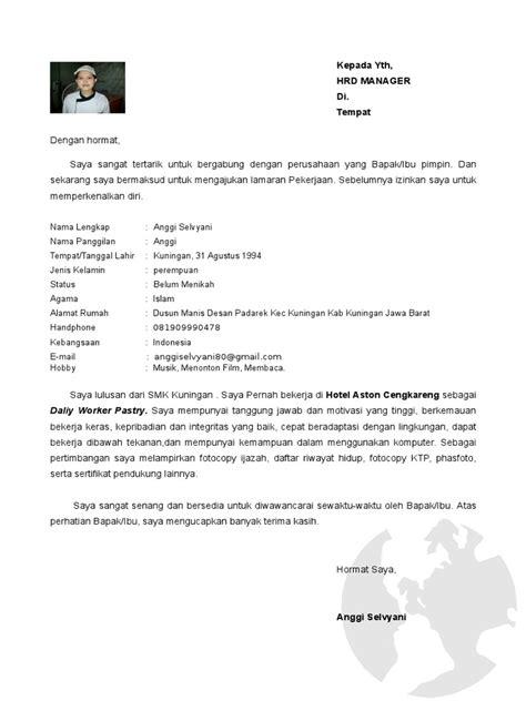 Contoh surat lamaran kerja hotel bagian housekeeping. Contoh Surat Lamaran Kerja Di Hotel Bagian Pastry