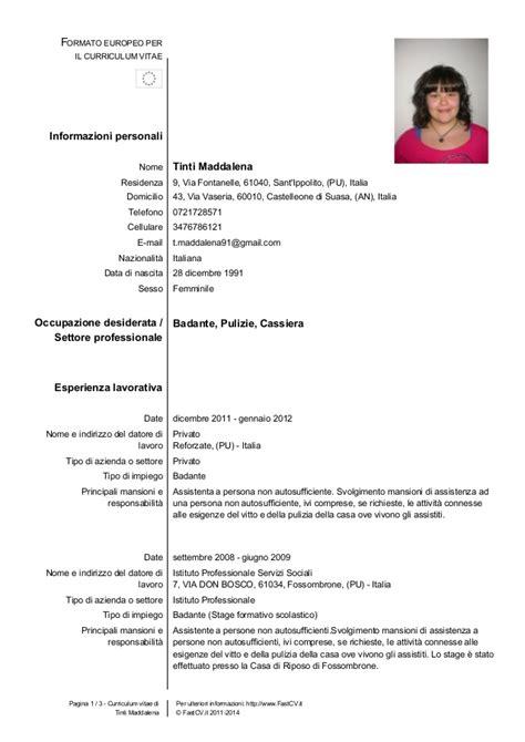 Curriculum Vitae Excel Formato Europeo by Cv Europeo Maddalena Tinti