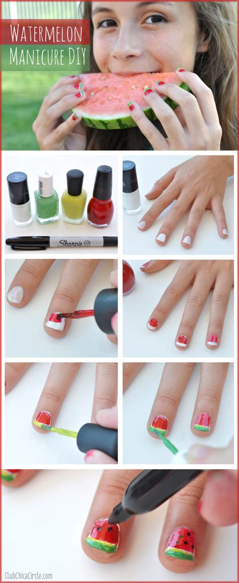 crafts for tweens easy watermelon manicure diy Diy