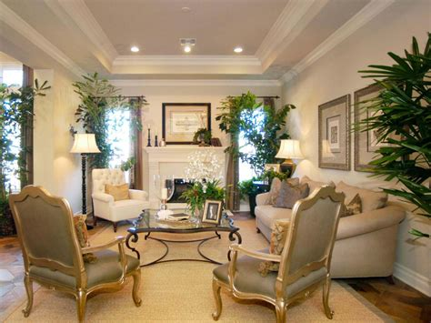 elegant living room with tray ceiling hgtv