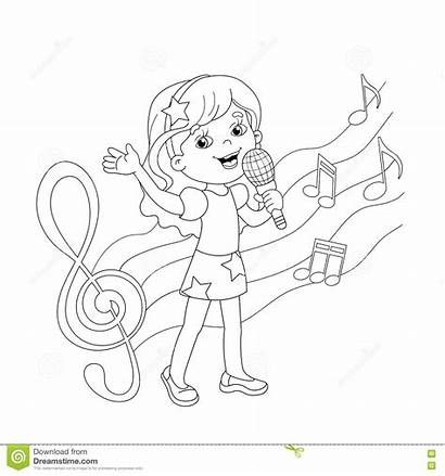 Singing Coloring Outline Song Cartoon Melody