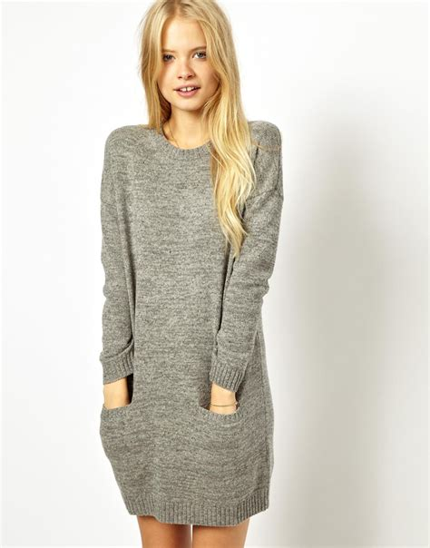 gray sweater dress wills knitted sweater dress in gray lyst