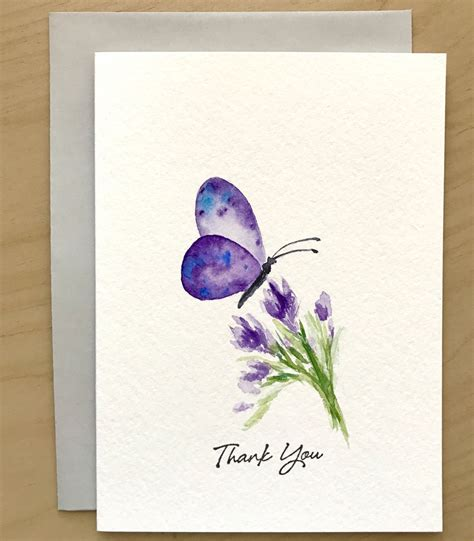 butterfly thank you card original watercolor cards