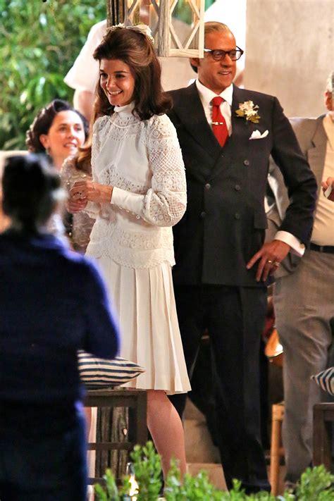 katie holmes glows  jackie kennedy   wedding dress