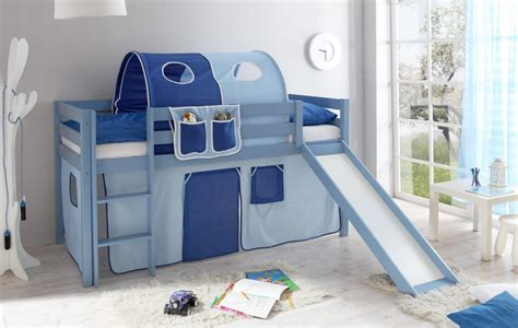 hochbett kinder rutsche blaues kinder hochbett manuel sicheres kinderhochbett aus kiefer massiv hellblau lackiert mit