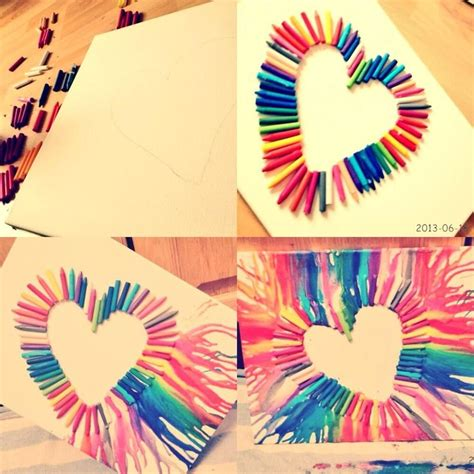 arts and crafts diy ideas diy crayon heart art love craft ideas diy pinterest