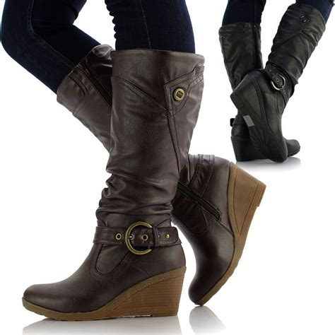 ladies biker boots ladies womens leather style medium flat wedge knee high