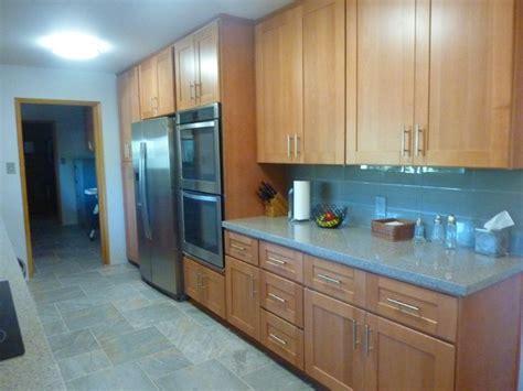 beech wood kitchen cabinets beech wood shaker galley refrigerator wall after 4405