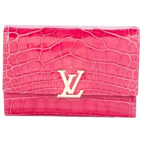 louis vuitton  pink alligator exotic gold charm small clutch wallet  box  sale  stdibs