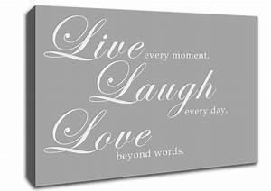 live laugh love 2 grey white text quotes canvas stretched With kitchen colors with white cabinets with live laugh love wall art stickers