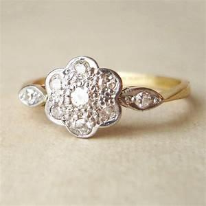 art deco diamond daisy ring antique engagement ring diamond With daisy wedding ring