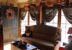 Primitive country decor primitive living rooms for Primitive country living room curtains