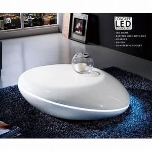 Table Basse Galet Led : table basse galet laqu e ronde eclairage le achat ~ Melissatoandfro.com Idées de Décoration