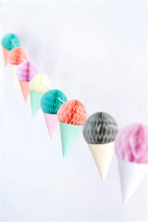 diy mini honeycomb ice cream garland
