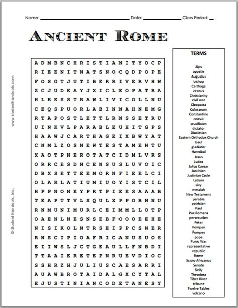 printable ancient rome word search puzzle student