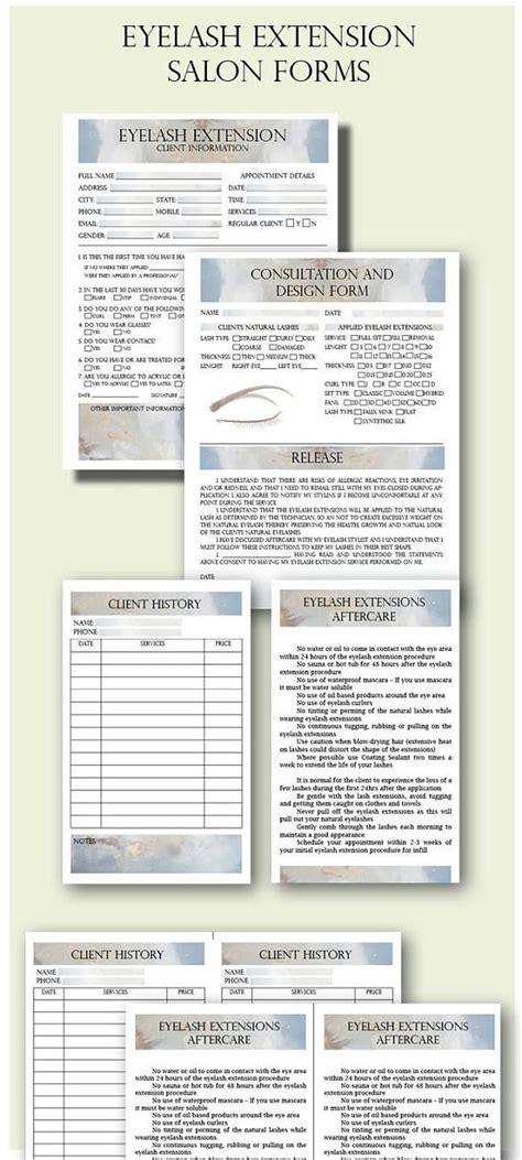 eyelash extension client forms client information form