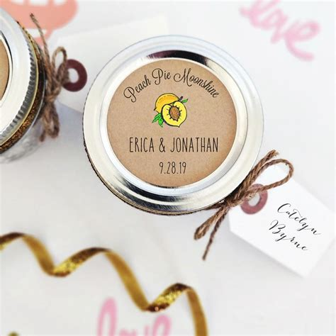 Peach Pie Moonshine Labels For Wedding Favors Once Upon