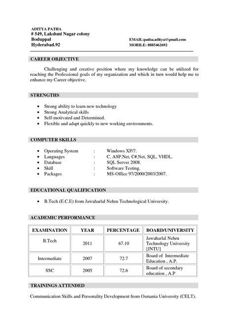 sle mba resume for freshers resume exles