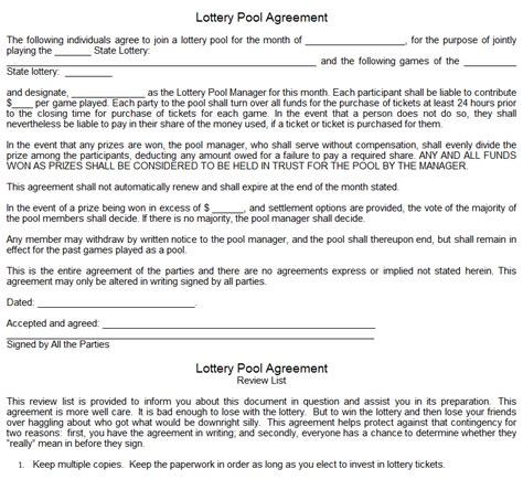 Lottery Contract Template by Lottery Pool Agreement