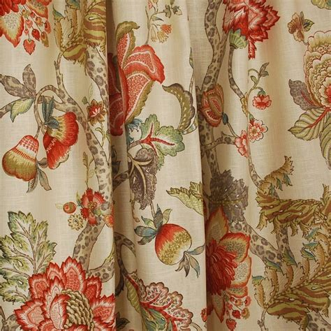 Jacobean Floral Design Curtains by Malawi Khaki Floral Jacobean Fabric Ebay