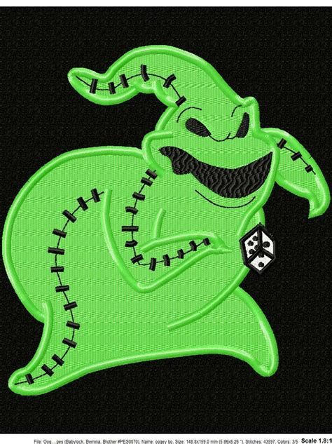 oogie boogie embroidery filled design  appliques