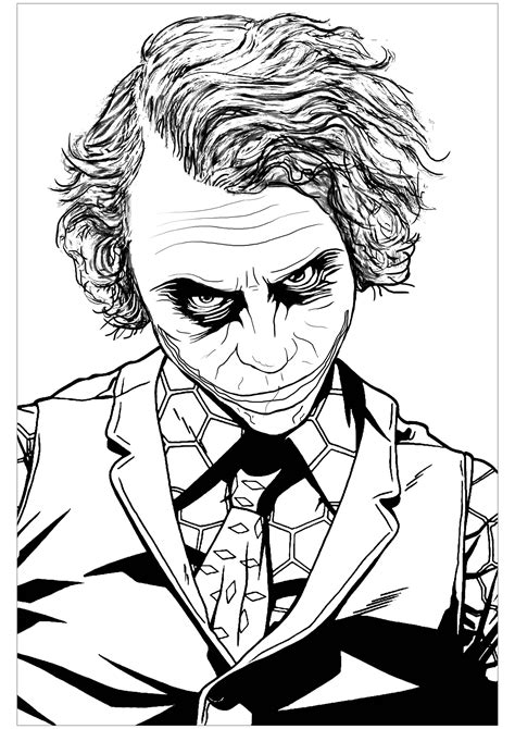 joker heath ledger movies adult coloring pages