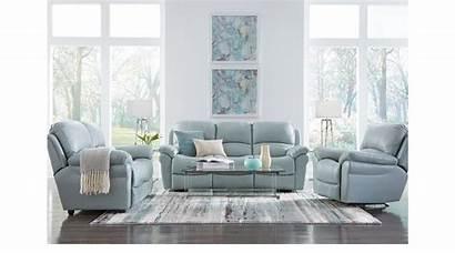 Living Sofa Furniture Rooms Sets Leather Aqua