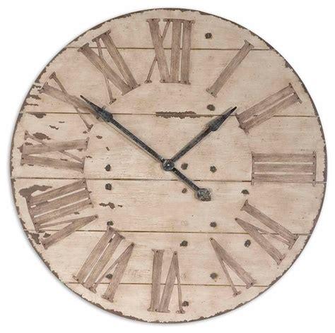 uttermost clock uttermost harrington 36 quot wooden wall clock 06671 rustic