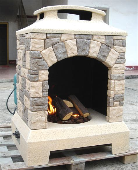 Gas Fireplace Fire Pit Outdoor Tuscan Style Stone Wlogs
