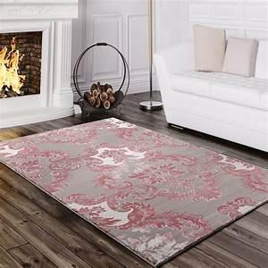 Teppich Rosa Grau : designer teppich edel hoch tief struktur glitzergarn barock muster wei grau rosa teppiche ~ Whattoseeinmadrid.com Haus und Dekorationen
