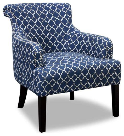 regency living room accent chair blue and white