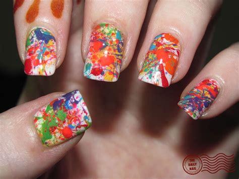Splatter Nails.. Paint White... Add A Little Nail Polish
