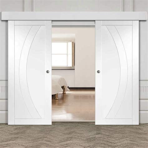 double sliding door wall track salerno flush doors white primed