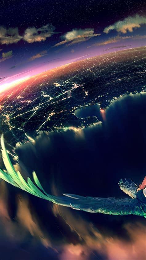 anime landscape night bird view moon