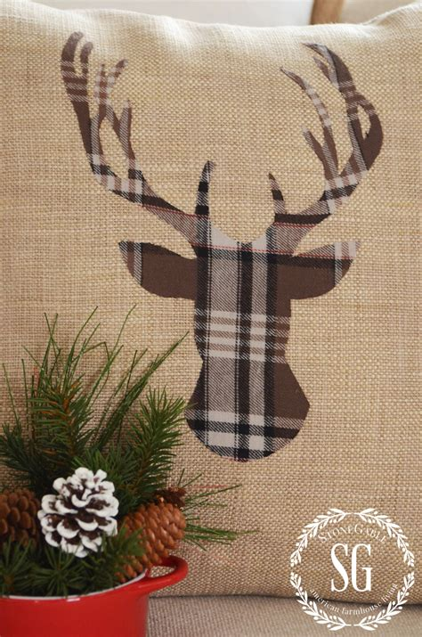 deer antlers and plaid for christmas woodland deer pillow diy stonegable
