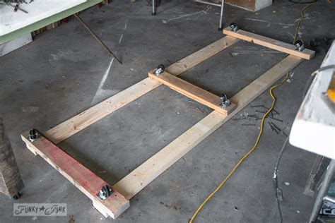 wood storage cart   farm table workbenchfunky junk