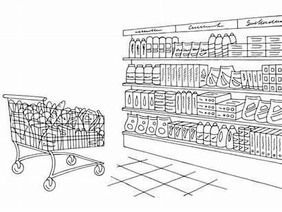 Grocery Sketch Supermarket Shelf Clip Vector Illustration