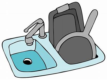 Sink Kitchen Clipart Drawing Cartoon Dishes Vector