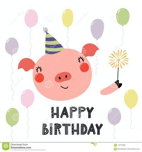 pig  balloons happy birthday cartoon vector