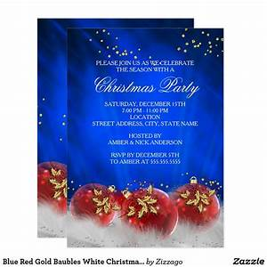 Blue Red Gold Baubles White Christmas Party Invitation
