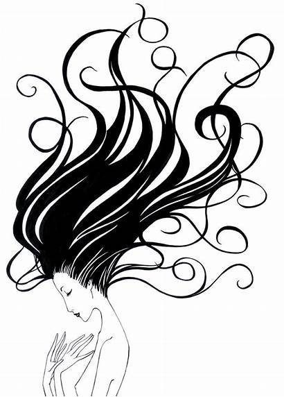 Hair Flowing Clipart Drawing Lady Vector Drawings