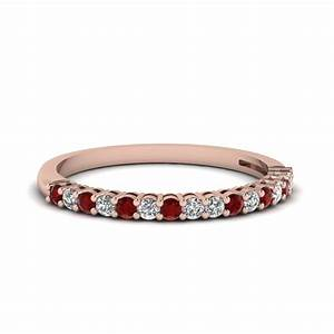 14k rose gold red ruby wedding band fascinating diamonds for Ruby wedding band rings